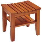 Conair PTB7 Rectangle Teak Spa Bench with Shelf