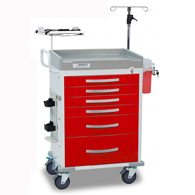 Detecto Rescue Series ER Medical Carts-Red